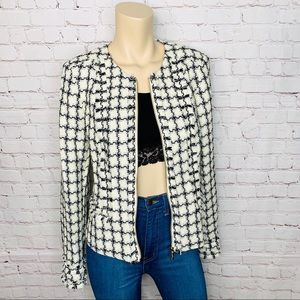 KARL LAGERFELD Sz 8 Tweed Zip Up Jacket Blazer